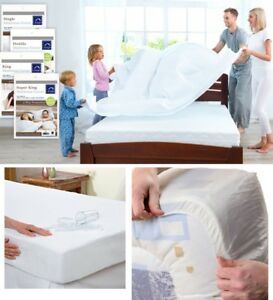 WATERPROOF FITTED MATTRESS PROTECTOR COVER SHEET SINGLE , DOUBLE & KING SIZE NEW