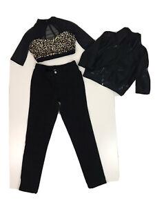 3 Piece Hip Hop Dance Costume Black Jacket, Top (Small Adult) & Pants XLC