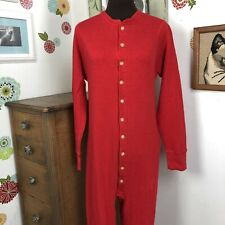 Vintage Duofold Union Suit, Red Wool Blend Long Johns One Piece with Butt Flap M