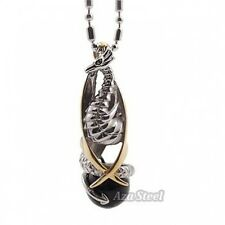 """Silver Gold Black Onyx Phoenix Stainless Steel Pendant with 21"""" Chain Necklace"""