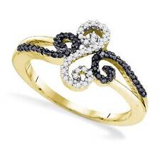 Black & White Diamond Ring 10K Yellow Gold Fancy Twist Diamond Band .19ct