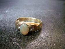 Zarter-Edelopal-0,54-Herren- Ring- Wasser-Opal- 2 Brillanten 0,10 585-Gelb-Gold-