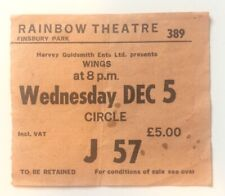 Beatles Paul McCartney Wings 1979 Concert Ticket Rainbow Theatre London Rare