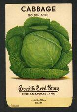 CABBAGE, Everitt's Antique Seed Packet, Kitchen Decor, 046