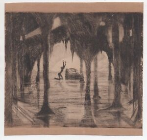 Haunting Vintage Etching of Lonely Figure in Trees