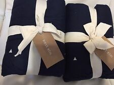West Elm Light & Lofty F/Q Quilt & 2 Shams Nightshade Blue 100% Cotton  Navy