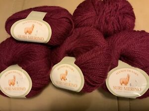 5 Skeins Suri Merino Yarn by Plymouth - Discontinued - Berry