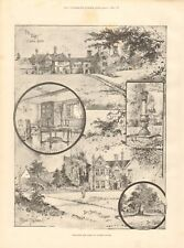 1893 ANTIQUE PRINT - SELBORNE, HOME OF GILBERT WHITE, BY HOLLAND TRINCHAM, 2 PAG