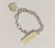 """💝 Lord & Taylor Classic Cable Charm Bracelet with Heart 8"""" Sterling Silver"""