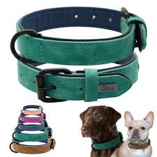 Soft Padded Leather Dog Collar for Rottweiler Siberian Husky Pitbull XS S M L XL