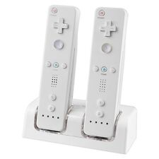 Wireless Dual Remote Controller Charging Dock Station + 2x Battery Pack For Wii
