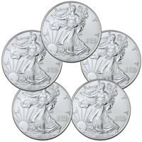 Lot of 5 2019 1 oz American Silver Eagle $1 Gem BU Coins SKU56933