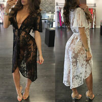 Women Summer Bikini Swimwear Cover-Up Kaftan Kimono Cardigan Beach Lace Dress❀