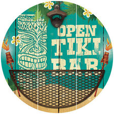 NEW Open Tiki Bar Retro Polynesian Themed Sign With Bottle Opener & Cap Catcher