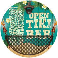 NEW Open Tiki Bar Retro Polynesian Themed Sign With Bottle Opener & Cap Catcher