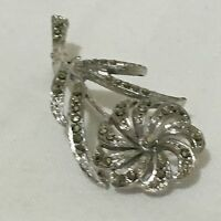 1950s Marcasite Brooch Vintage Retro 1950s Floral Flower ST Pin Bridal Wedding