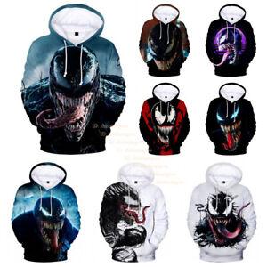 Marvel Venom Spider Man Hoodies Men's Teens Casual Pullover Hoodie Sweatshirt