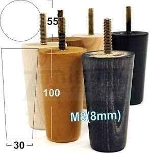 4x ROUND TAPERED WOODEN LEGS 100mm High CHAIR REPLACEMENT FURNITURE FEET M8(8mm)