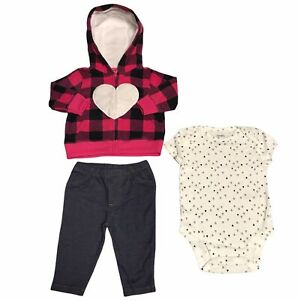 Carters Baby Infant Girls 3 piece Fleece Jacket Set Pink Blue White Choose size