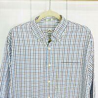 Peter Millar L Shirt White Blue Brown Checks Plaid Long Sleeve Button #E