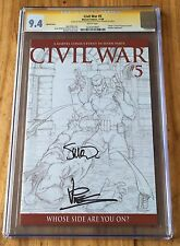 Civil War #5 sketch cover - CGC 9.4ss, signed by McNiven & Vines - Marvel Comics