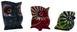Balinese Mini Owls Hand Carved Painted Wood Vintage 80s Bali Set 3
