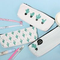 School Supply Stationery Pencil Case Cosmetic Bag Canvas Green Cactus