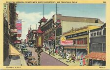 Linen postcard, Oriental Bazaars, Chinatown's Shopping District, San Francisco