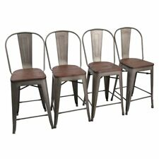 """4× Metal Bar Chairs 26"""" Bar Stools Counter Height High Back Wooden Cushion Rusty"""
