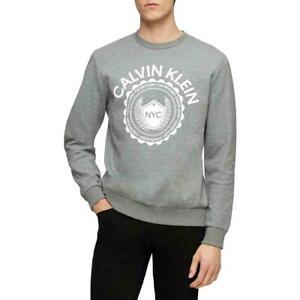 Calvin Klein Mens Gray Logo Ribbed Trim Heathered Crew Sweatshirt L
