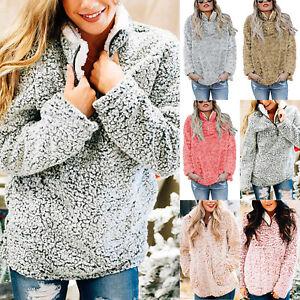 Womens Winter Fleece Fluffy Sweater Jumper Ladies Zip Teddy Bear Pullover Tops