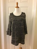 New Chico's Sequin Shine Shelly Pullover Sweater 2=12/14 Large Black/Gold NWT
