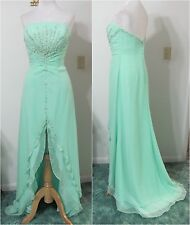 PRECIOUS Formals 10 Dress PROM Evening Gown Green Beaded Hi-Low Pageant NWT