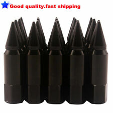 20PCS M14X1.5 60MM Spiked Extended Aluminum Tuner Lugs Nuts Wheels/Rims BLACK