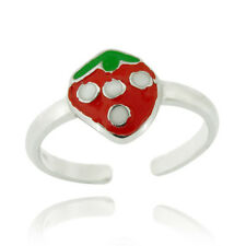 925 Silver Strawberry Enamel Toe Ring
