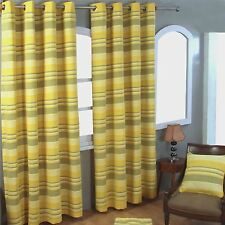 Homescapes 1 Pair of Morocco Ribbed Stripe Curtains Yellow 72 Inch Drop 100 X