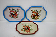 Vintage Butterfly Metal Tin Tray Set of 3 trays