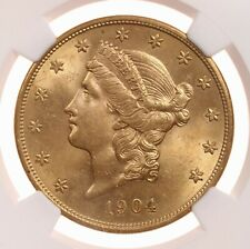 1904 Liberty $20 NGC Certified MS62 US Mint State Graded Gold Double Eagle Coin