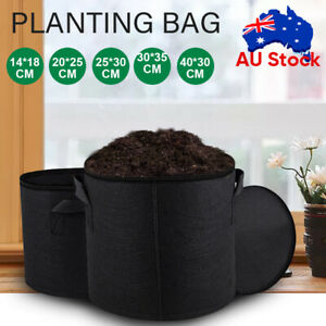Pack of 10 Fabric Grow Pots Breathable Planter Bags 1/3/5/7/10 Gallon Bags AU