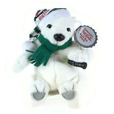 Plush Coca Cola Polar Bear Beanie | Long Striped Cap | Coke Bottle | Tags 1999