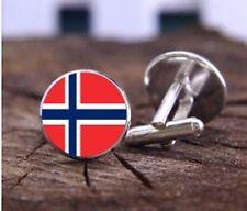 Sac Cadeau + Norvège Boutons De Manchette Plaqué Argent Boutons de Manchette Pavillon Norvégien Round UK