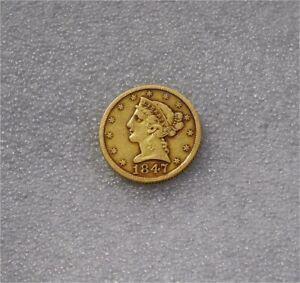 1847 USA $5 DOLLARS GOLD COIN 1/2 EAGLE LIBERTY HEAD NO MOTTO XF