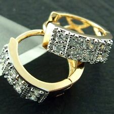 AN472 GENUINE REAL 18K YELLOW G/F GOLD SIMULATED DIAMOND RETRO HOOP EARRINGS