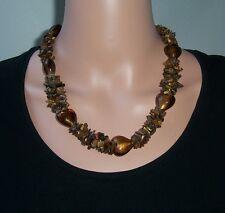 Kette Edelstein Tigerauge Herz Collier 52cm Halskette braun Schmuck Perlen K1860