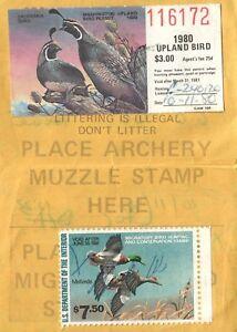 1980 USA Canard Tampon #RW47 + Upland Washington Chasse & Pêcher Immatriculation