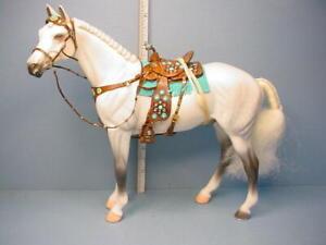 Miniature Breyer Horse wi Saddle, Bridle, Braided Mane & Tail Prestige Leather