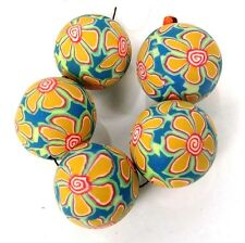 20mm Handmade Polymer Clay Round Pendant Beads - Yellow Lily