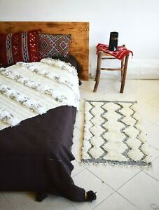 White Bed sides Moroccan Bedroom Pair Rugs Ivory carpet 3.3x1.8Ft small rug