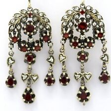 Earrings Chandellier Garnet 925 Sterling Silver Antique Style