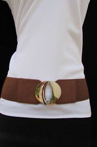 Women Fashion Brown Elastic Waistband Belt Round Silver Metal Buckle Size S M